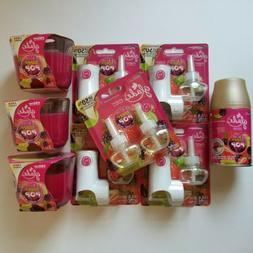 Glade Berry Pop Lot 4 Warmers 5 Oil Refills  3 Wick Candles