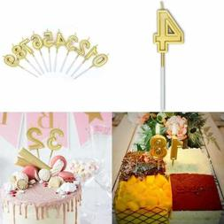 Birthday Candles Number 4 Cake Topper Decoration GOLD Glitte