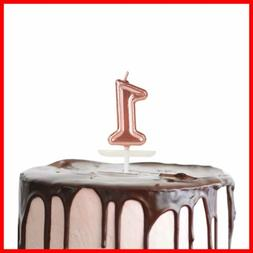 Birthday Candles ROSE GOLD Cake Number 1 Topper Decoration F