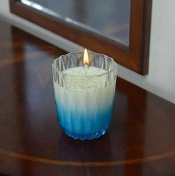 Blue Coral Candle In Jewel Patterned Ombre Glass