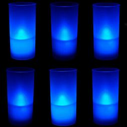 6 PCs Blue LED Flickering FLAMELESS Tealight Candles with Fr