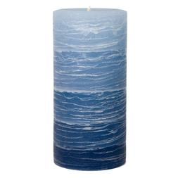 "Blue Layered Pillar Candle - 3x6"" Rustic - Nautical Collecti"