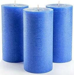 """Blue Pillar Candles Set of 3 3"""" x 6"""" Unscented Dripless for"""