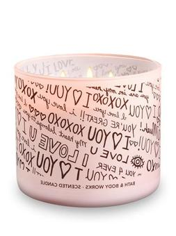 """Bath and Body Works Candle 3 Wick """"I Love You"""" Scent Honeysu"""