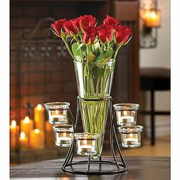 CANDLE HOLDER: Circular Black Iron Stand with Glass Centerpi