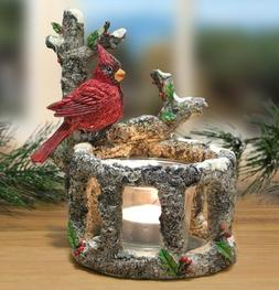 BANBERRY DESIGNS Cardinal Candle Holders - Set of 2 Red Card