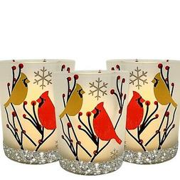 BANBERRY DESIGNS Cardinal Votive Holders - Set of 3 Frosted