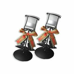 BANBERRY DESIGNS Christmas Candle Holders - Set of 2 Black W