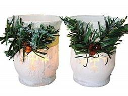 BANBERRY DESIGNS Christmas Candle Holders - Set of 2 White G
