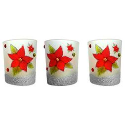 BANBERRY DESIGNS Christmas Poinsettia - Set of 3 Frosted Gla