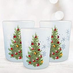 BANBERRY DESIGNS Christmas Tree Candle Holders - Set of 3 -