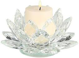 """Clear Crystal 9 1/4"""" Wide Lotus Candle Holder"""
