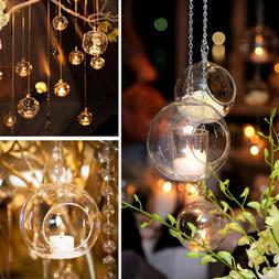 Clear Glass Round Hanging Candle Tea Light Holder Candlestic