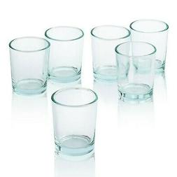 Clear Glass Round Votive Candle Holders Set of 12