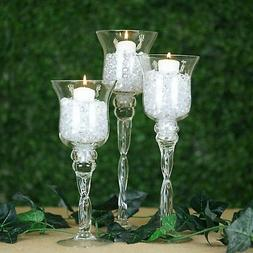 Clear Set of 3 Hurricane Long Glass Candle Holders Vases Wed