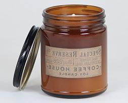 Coffee House Scented Soy Wax Candle - Rustic Amber Jar with
