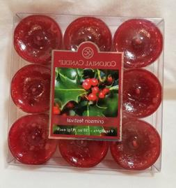Colonial Candle CRIMSON FESTIVAL Box of 9 Scented Tealights