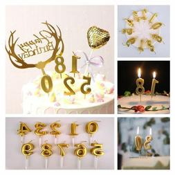Cute Gold Numbers Candle Cartoon Cake Candles Kids Happy Bir