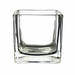 CYS EXCEL Cube Vase, Crystal Clear Glass Vase, Cube Glass Va