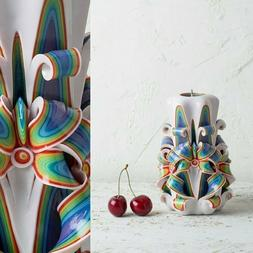 Decorative Candles For Living Room - Hand Carved Rainbow Wed