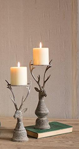 Set of 2 Deer Pillar Candle Holders, Largest 4 x 12.5 in