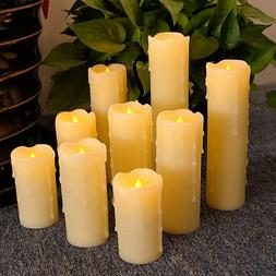 Dripping Flameless Candles Flickering LED Candles Set of 9 w
