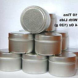 Empty Metal Tins With Lids 4 Oz Round Silver For Candles Cra