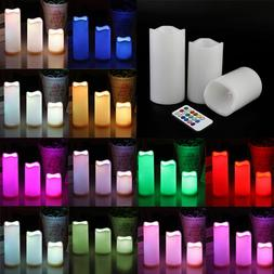 """3pc LED Flameless Candles 4"""" 5"""" 6"""" Pillar 12 Color Changing"""