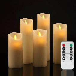 Flameless Pillar Ivory Candles Moving Wick LED Timer Remote