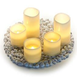 Flickering Amber Flame Pillar Candles with Timer Large Unsce