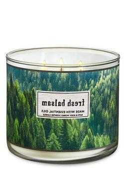 NEW BATH & BODY WORKS FRESH BALSAM SCENTED CANDLE 3 WICK 14.