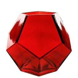 """CYS Excel Geometric Red Glass Vase Candle Holder H: 6"""" Openi"""