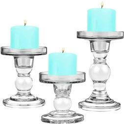 """Cys Excel Glass Candle Holders For 3"""" Pillar Candle And 3/4"""""""