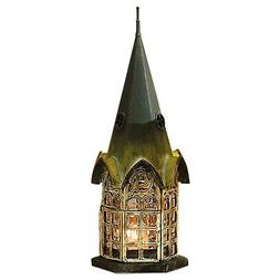 Glass and Metal Architectural Candle Lantern - Green Patina