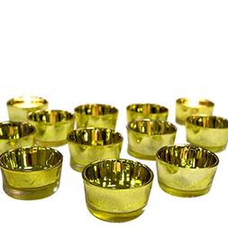 BANBERRY DESIGNS Gold Glass Tea Light Candle Holders - Set o