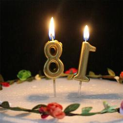 Gold Metallic Number Candle Birthday Cake Topper 0 - 9 1st 3