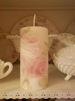 Hand-painted Shabby Chic Pillar Candle Victorian Roses Decor