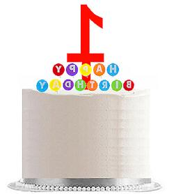 Happy 1st Birthday Party Red Cake Topper Rainbow Candle