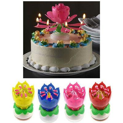 1 x lotus flower musical birthday candle
