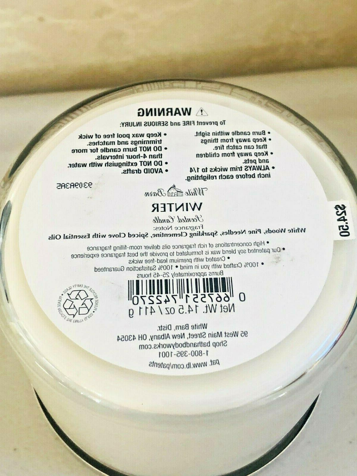 Bath Body Works WINTER CANDLE Large Scented 3 14.5 Essential Oils NEW