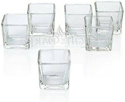 Light In The Dark Clear Glass Lip Votive Candle Holders Set