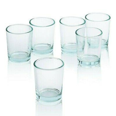 clear glass round votive candle