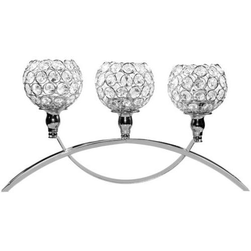 Crystal Candle 3-Arm Candelabra Dining Table