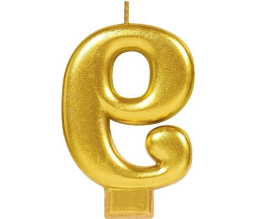 gold metallic number 9 birthday candle novelty