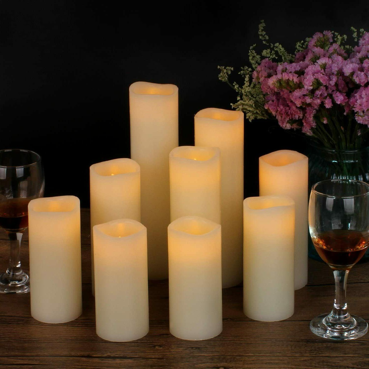 Set Of 9 Flameless Pillar Ivory Candles Moving Wick LED Time