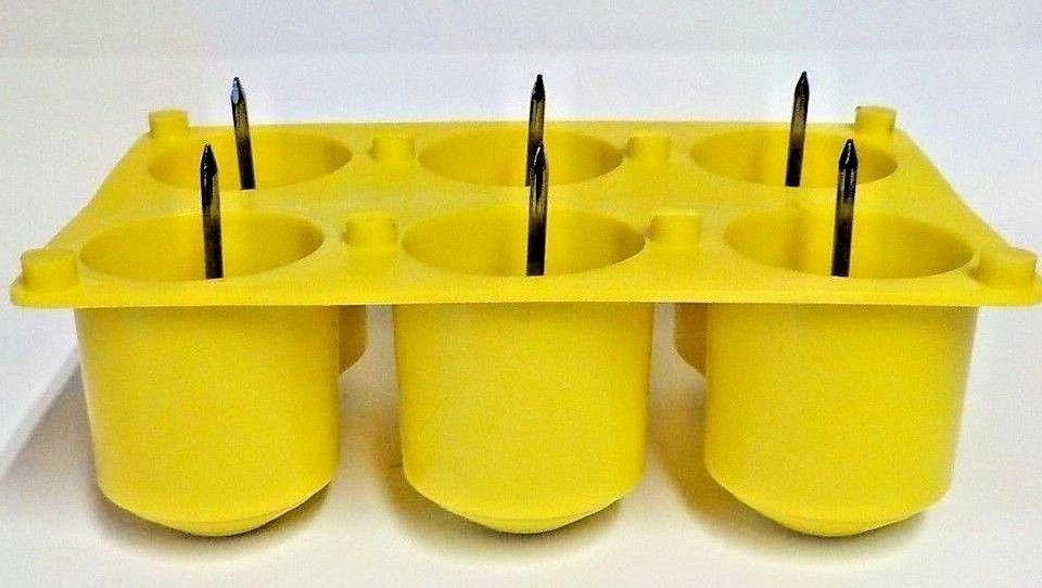 New   6 Cavity Votive  Plastic Candle Mold With Wick Pins Ma