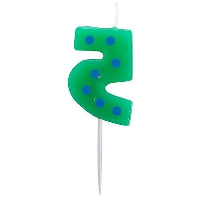 Number 5 Shaped Birthday Cake Candle on Stick Green with Blu