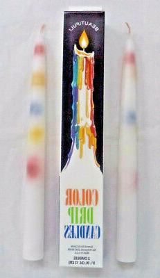 "2, 4 or 6: MULTI-COLOR Taper Drip Candles 0.75"" x 9.5"""