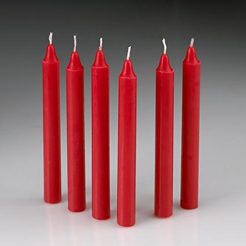 Light In Red Taper Candles Set of Chime - 4 inch Tall, Thick - Clean Burning