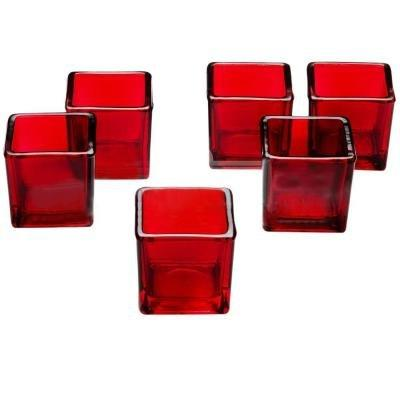 red glass square votive candle